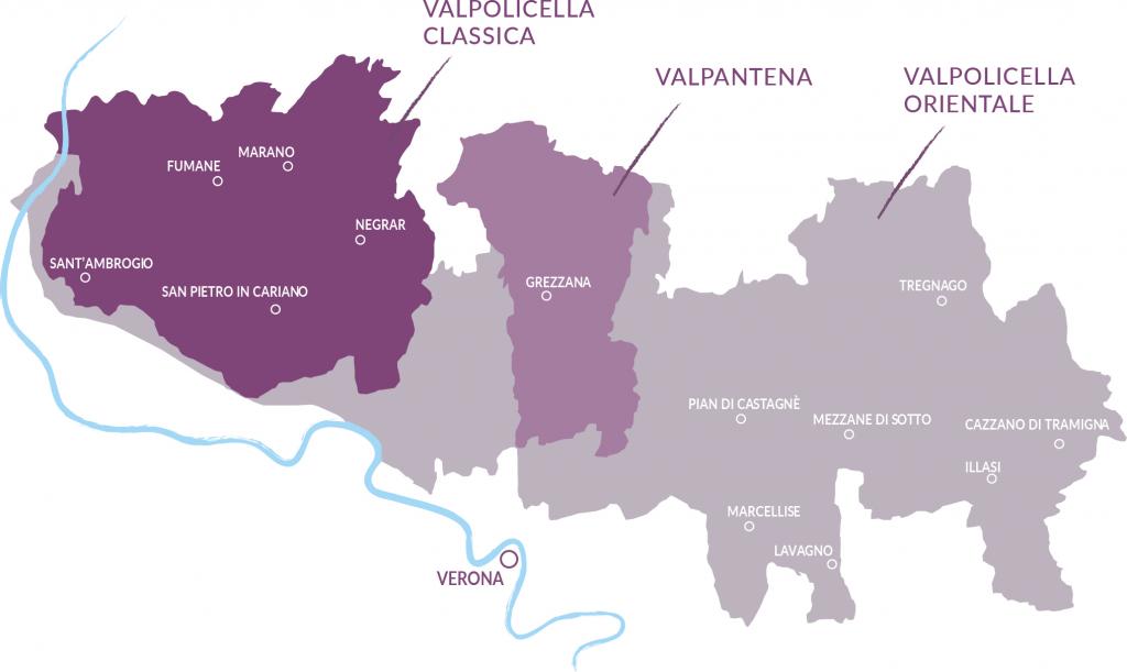 Übersicht des Valplicella-Gebietes